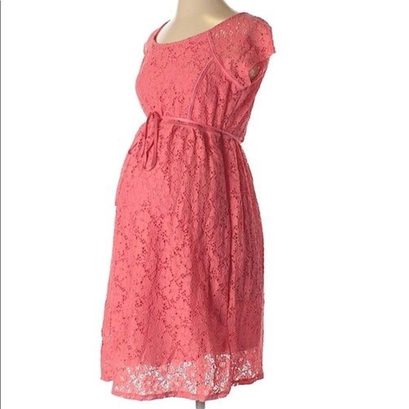 d5140f2189d02 Motherhood Maternity Dresses | Coral Lace Overlay Dress | Poshmark